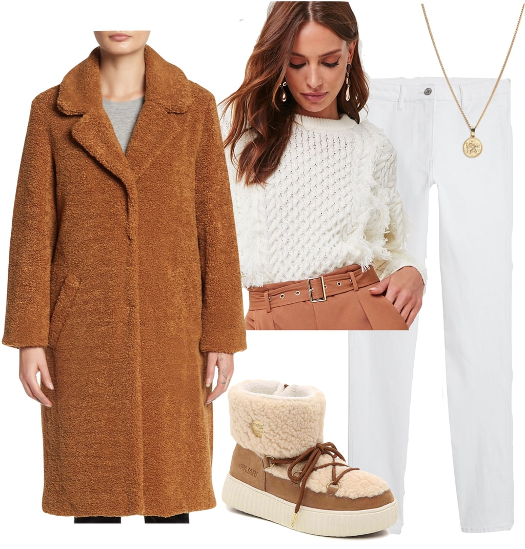 Kristin Cavallari Outfit: brown teddy coat, white cable knit fringe sweater, white skinny jeans, gold pendant necklace, and brown fur lace-up snow boots