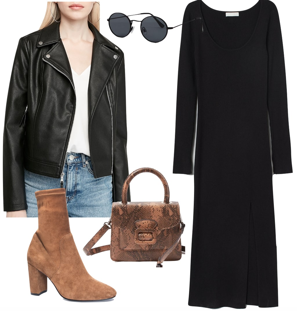 Lily Collins Outfit: black faux leather moto jacket, black midi dress, black round sunglasses, brown sock booties, and brown snake print mini handbag