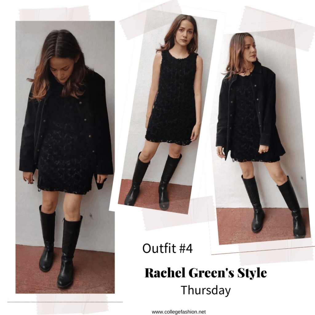 Outfit inspired by Rachel Green's style from Season 6 of Friends - black dress, knee high boots, coat