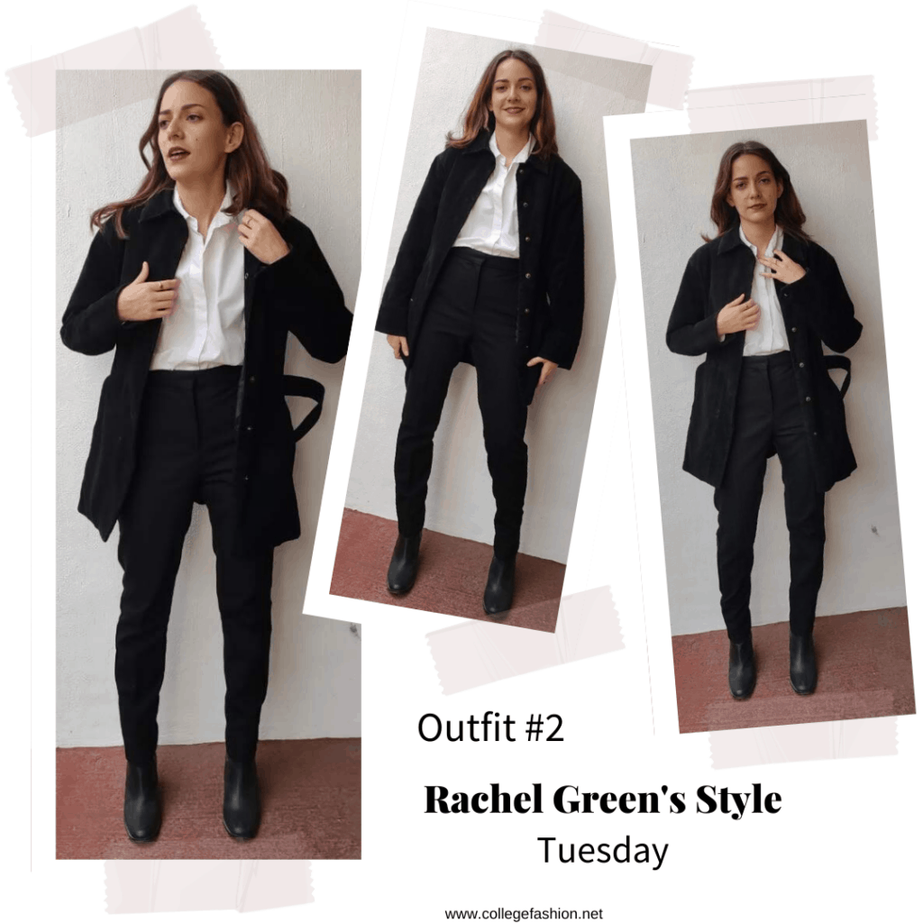 Outfit inspired by Rachel Green's style in Season 6 of Friends with black pants, button down shirt, oversized jacket and boots