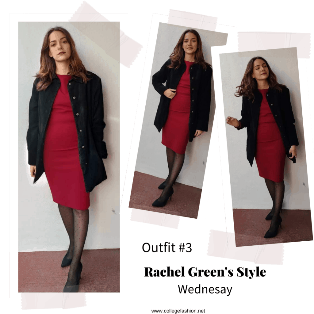 Outfit inspired by Rachel Green's style from Season 5 of Friends - red dress, long coat, tights, and pumps
