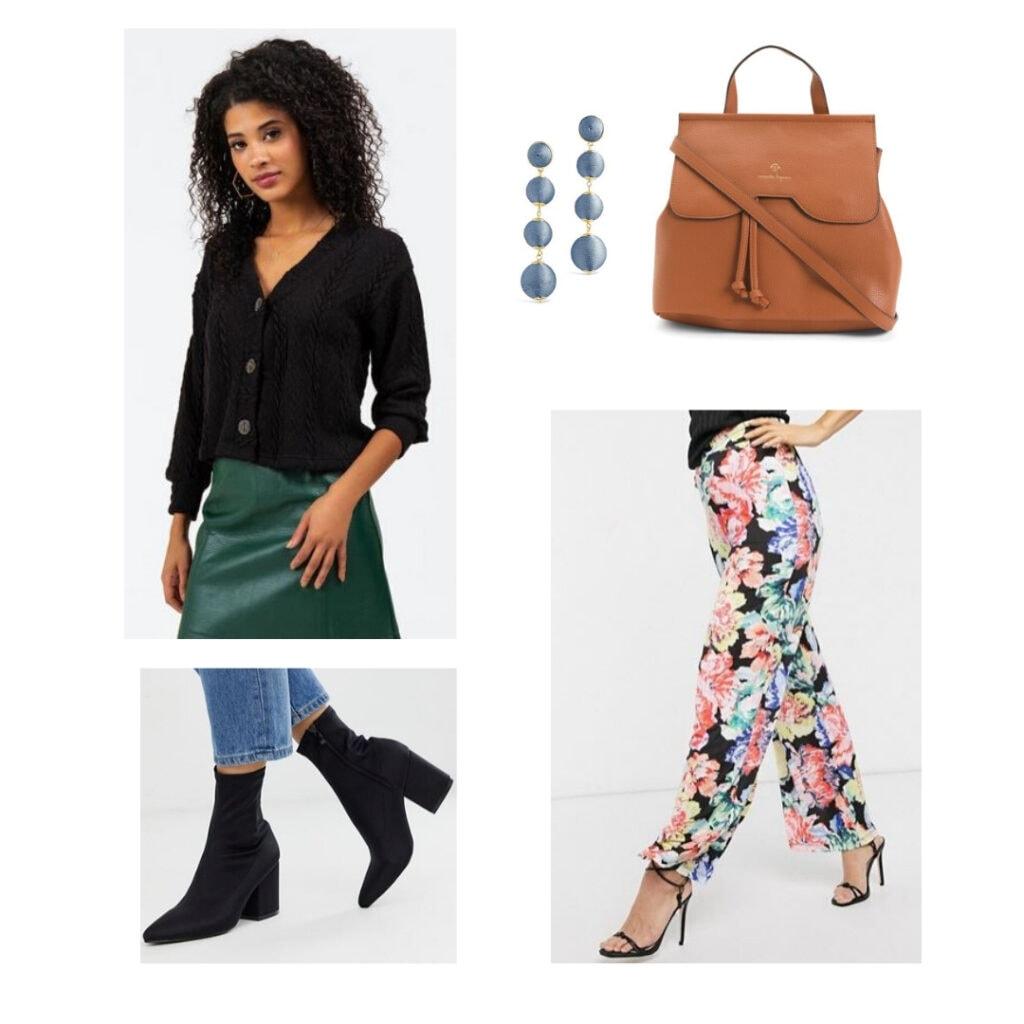 Black cardigan, blue earrings, brown leather backpacks, wide leg floral pants, black boots.