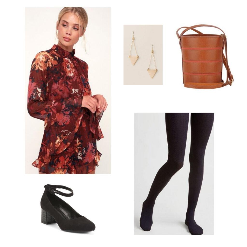 Burgundy floral romper, gold earrings, brown and red bucket bag, black tights, black block heels.