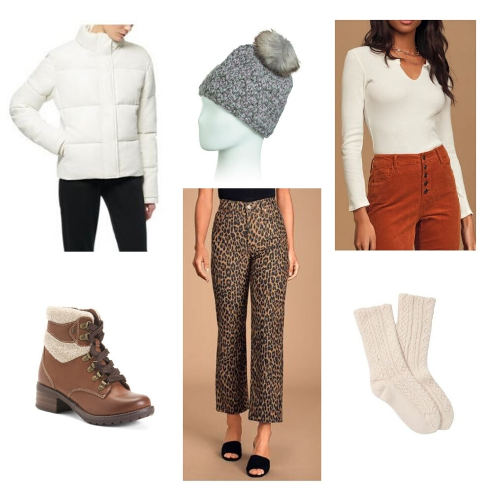 White parka, white thermal top, leopard print jeans, grey beanie, brown winter boots, beige knit socks.