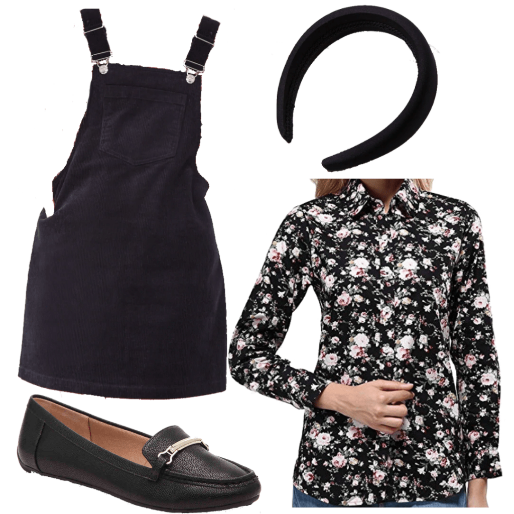 Sabrina Spellman style: Outfit inspired by Sabrina's overall dress and floral shirt from Season 3