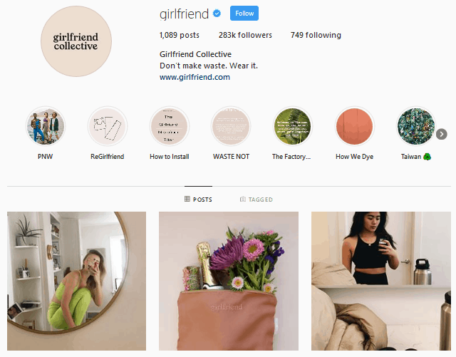 Best ethical fashion brands - Girlfriend Collective Instagram profile