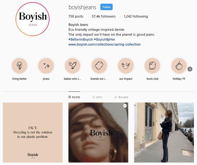 Boyish Jeans Instagram profile