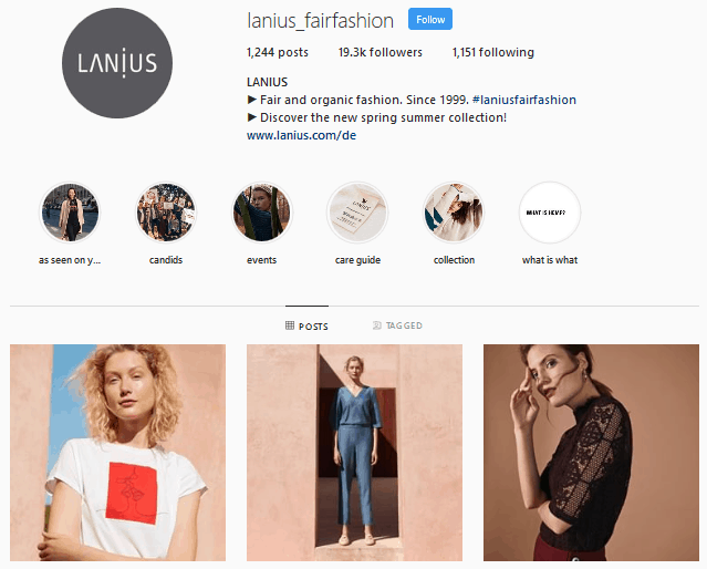 Lanius Instagram profile