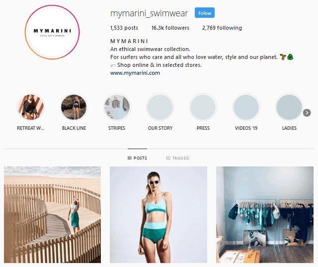 Mymarini Swimwear Instagram profile
