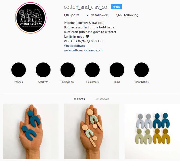 Cotton&Clay Co. Instagram profile