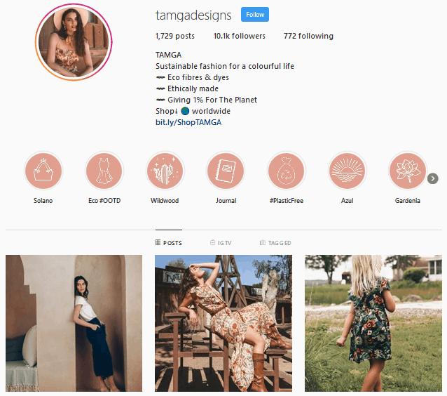 TAMGA Designs Instagram profile