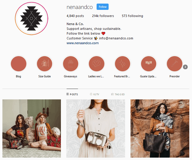 Nena & Co. Instagram profile