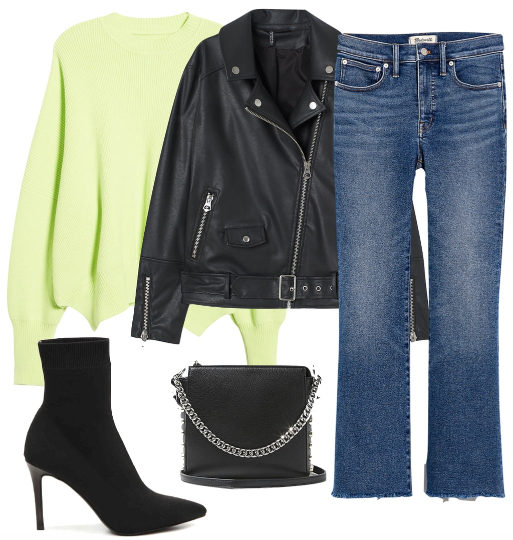Selena Gomez Outfit: neon crewneck sweater, black faux leather biker jacket, raw hem cropped jeans, black sock booties, and black and silver chainlink crossbody bag