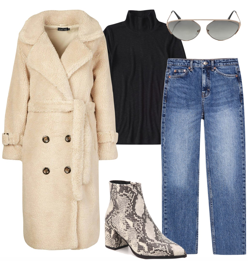 Sofia Carson Outfit: long beige teddy coat, black turtleneck, straight leg jeans, brow bar sunglasses, and snake print ankle booties