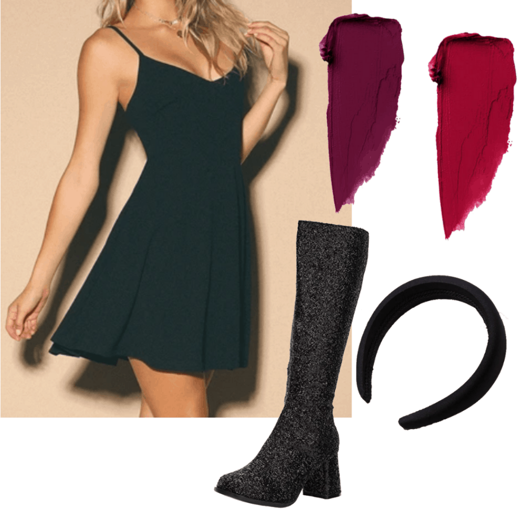 Sabrina Spellman style: Outfit inspired by Sabrina's cheerleading video with black dress, glitter boots, black headband, and red lipstick