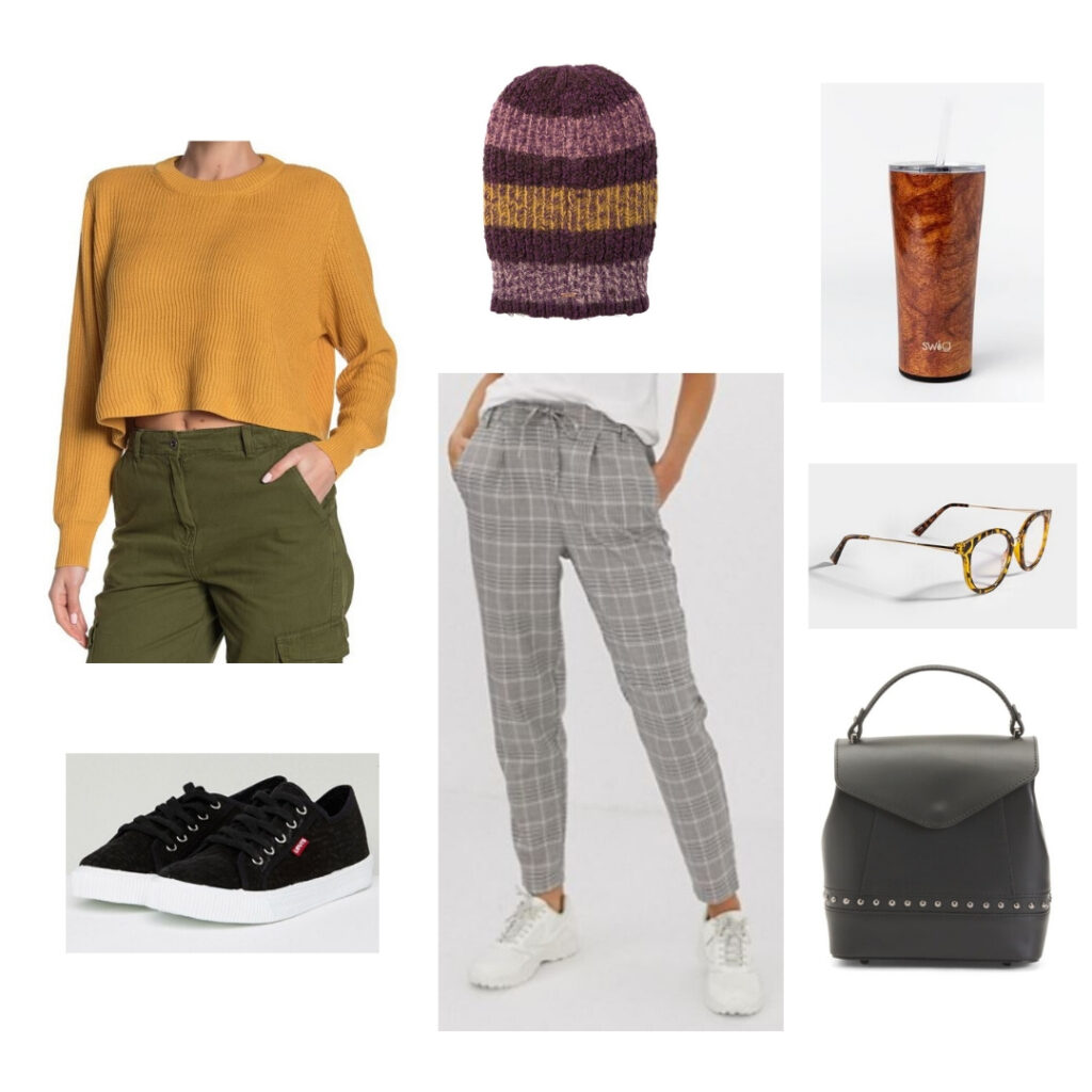 Yellow sweater, plaid pants, beanie, sneakers, backpack, glasses, and travel mug.
