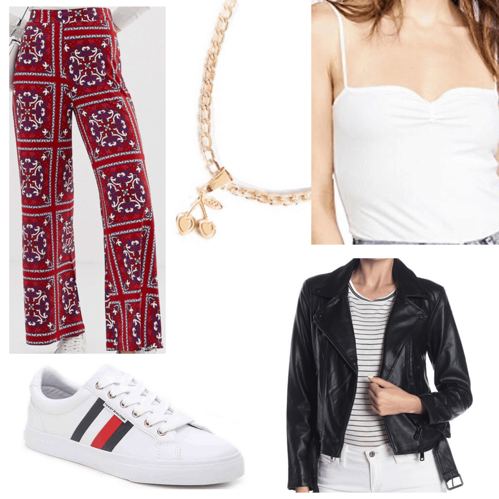 Patterned pants outfit set with white tank, gold jewelry, sneakers, black moto jacket, and red paisley patterned pants