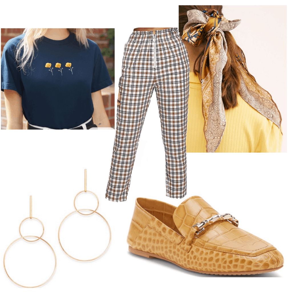 Outfit set with plaid patterned pants