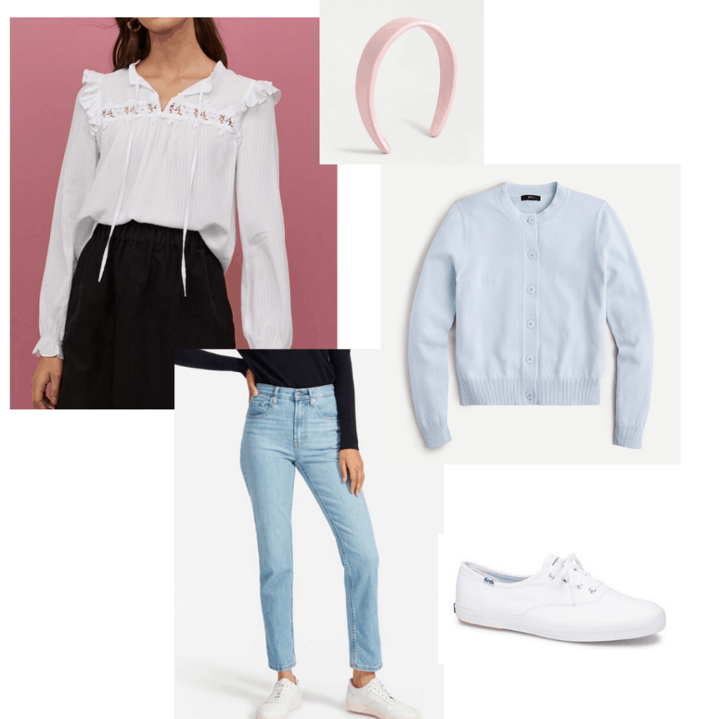 Casual and feminine outfit featuring white Keds, light jeans, Victorian blouse, baby blue cardigan, and pink headband