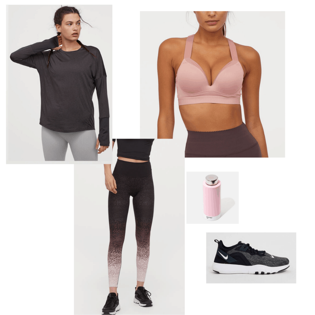 Strength training outfit with supportive bra, high waisted leggings, long sleeve top, nike sneakers, and pink water bottle