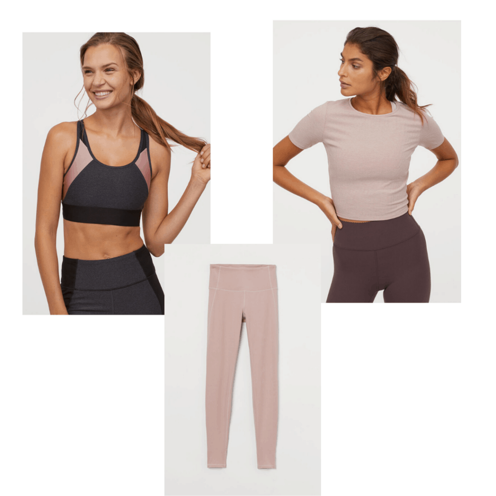 Yoga outfit with flexible bra, tights, and top