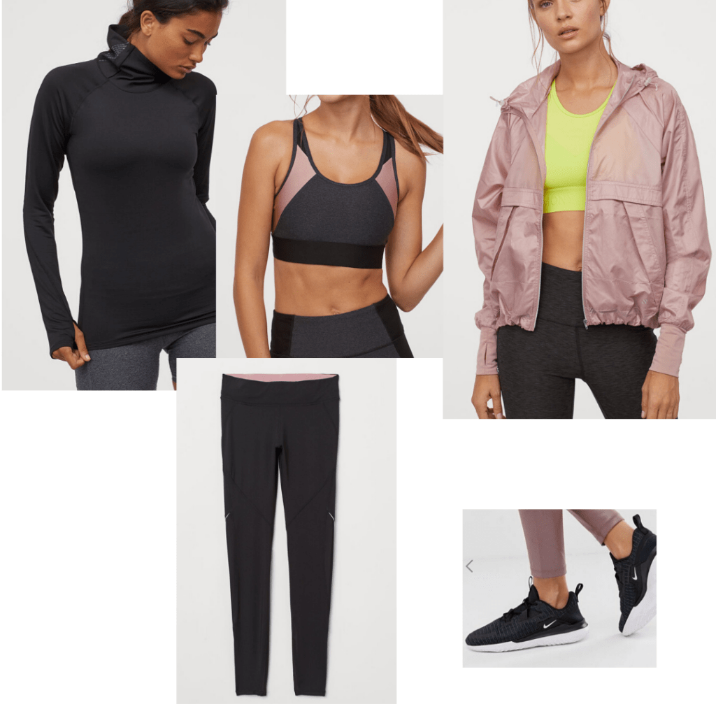 Running outfit with reflective tights, turtleneck, and windbreak styled with matching bra and sneakers