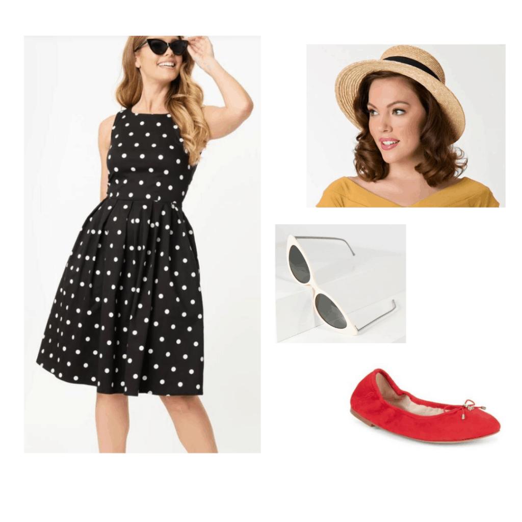 Red Sam Edelman flats styled with Unique Vintage polka dot dress, Unique Vintage straw boater hat, Unique Vintage white barbie retro sunglasses