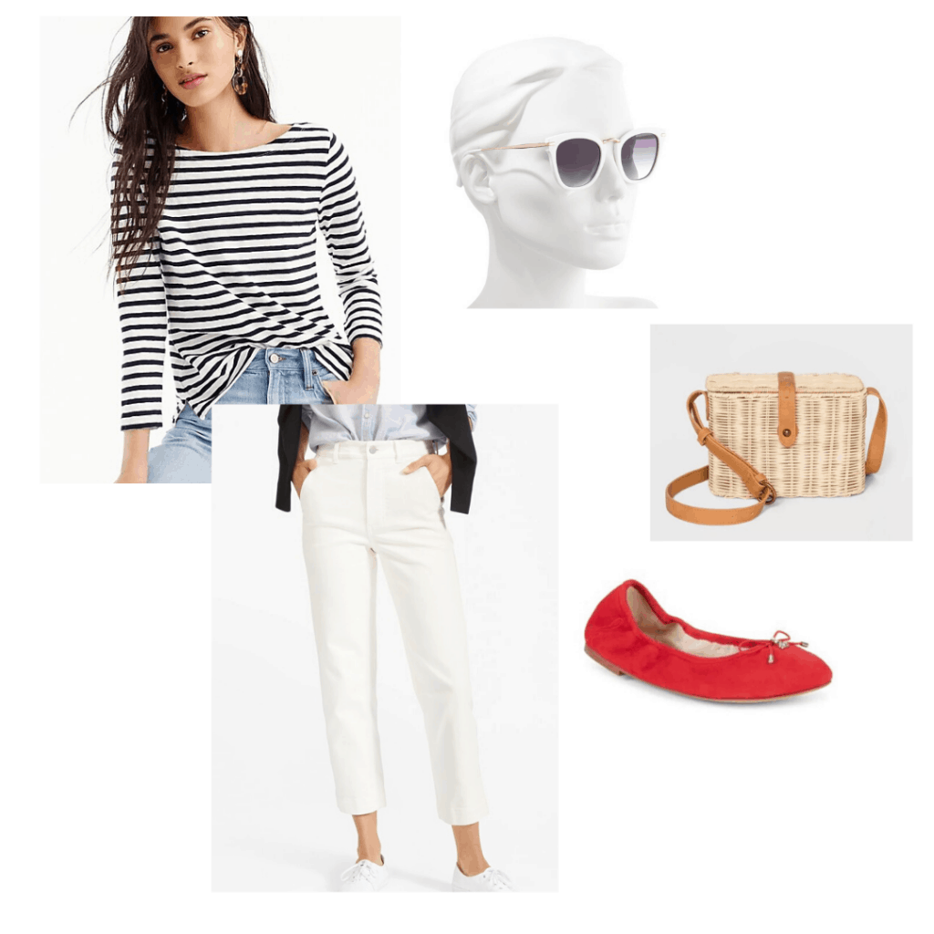 Cute spring shoes outfit guide - Red Sam Edelman ballet flats styled with a striped J.Crew top, Everlane white cropped pants, Target wicker purse, and Nordstrom sunglasses