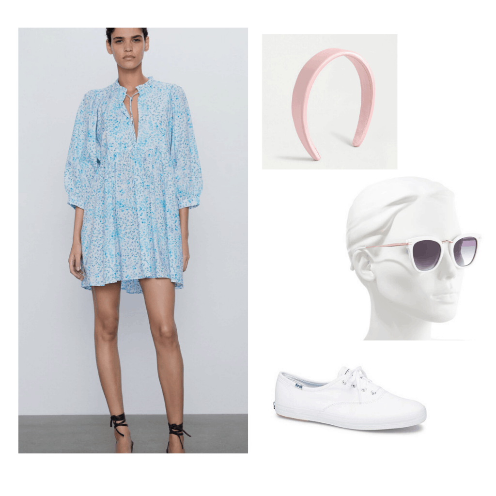 White Keds styled with a Zara sundress, J.Crew headband, and Nordstrom sunglasses