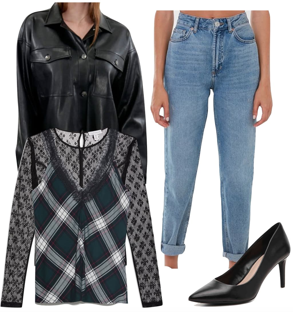 How to wear Plaid in 2020: Vanessa Hudgens Outfit: faux leather crop shirt jacket, plaid cami top, black lace long sleeve top, roll cuff mom jeans, and black pumps