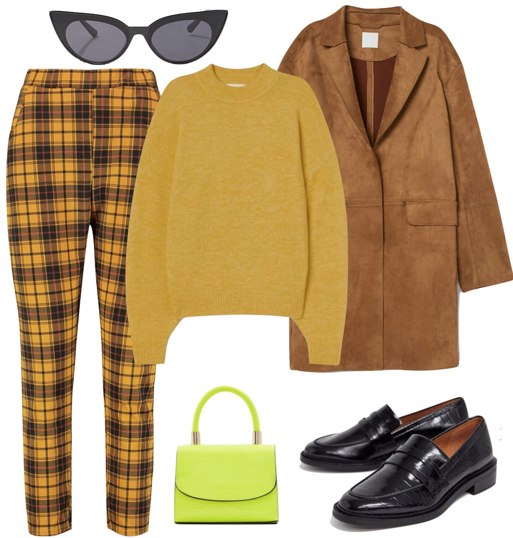 Zoë Kravitz Outfit #1: yellow crewneck sweater, yellow plaid trouser pants, black cat eye sunglasses, brown faux suede jacket, neon green mini handbag, and black loafers
