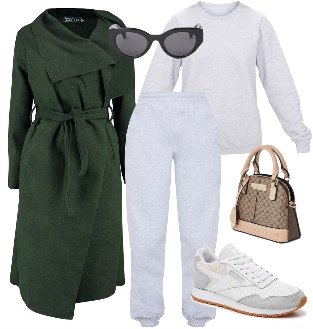 Zoe Kravitz style - Outfit #2: long green coat, gray crewneck sweatshirt, gray jogger sweatpants, black sunglasses, gray low-top sneakers, and a printed mini handbag