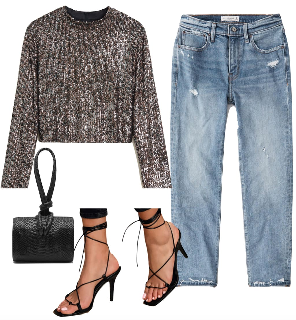 Zoe Kravitz Outfit #3: silver sequin long sleeve top, boyfriend jeans, black snake print embossed clutch bag, and black lace-up sandals