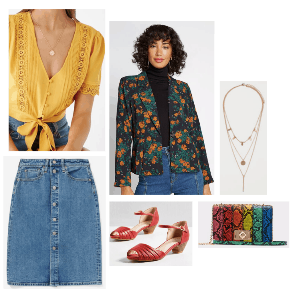 Sex Education fashion: Outfit inspired by Aimee with yellow top, button front skirt, rainbow bag, red heels