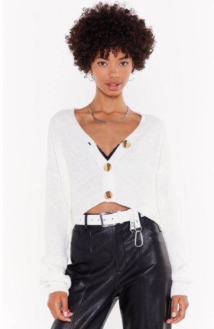 White button front cardigan