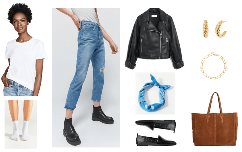 look 1: white tee, distressed boyfriend jeans, crew socks, motorcycle jacket, black loafers