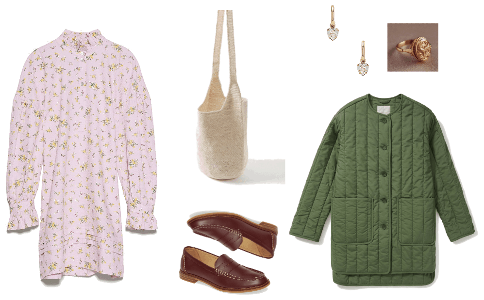 look 2: floral dress, quilted green jacket, brown loafers
