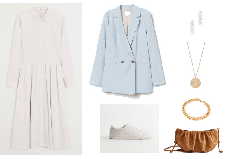 How to wear a shirt dress 2020 outfit 1: midi white shirt dress, baby blue blazer, white sneakers, brown purse, gold necklace and bracelet