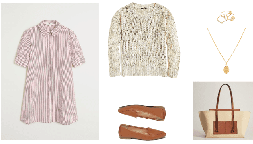 How to wear a shirt dress 2020 outfit 3: pink shirt dress, white crew neck sweater, brown loafers