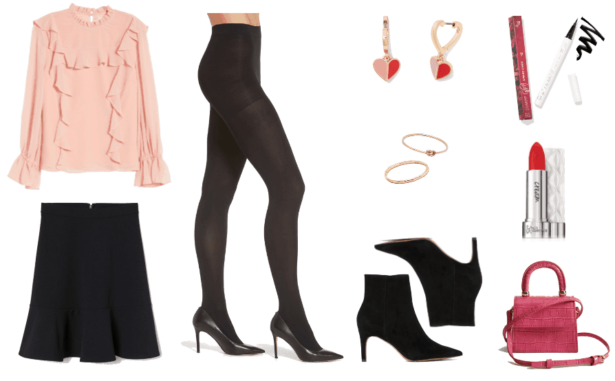 Valentine's Day outfit 1: ruffled blush pink blouse, a-line black skirt, tights, and heeled booties.