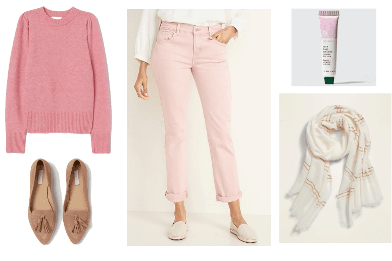Valentine's Day outfit 2: pink crewneck sweater, baby pink jeans, white scarf, and tassled loafers.