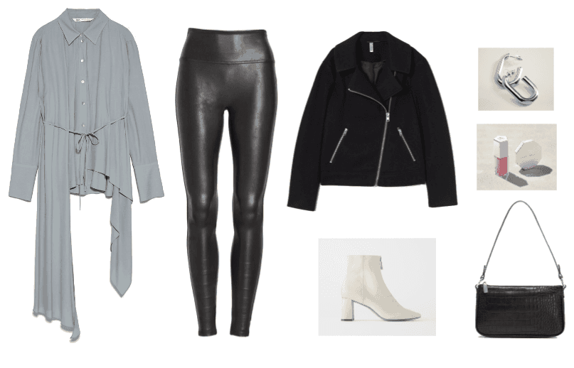 Valentine's Day outfit 3: asymmetrical hemline blue-grey blouse, faux leather leggings, motorcycle jakcet, and offwhite booties.
