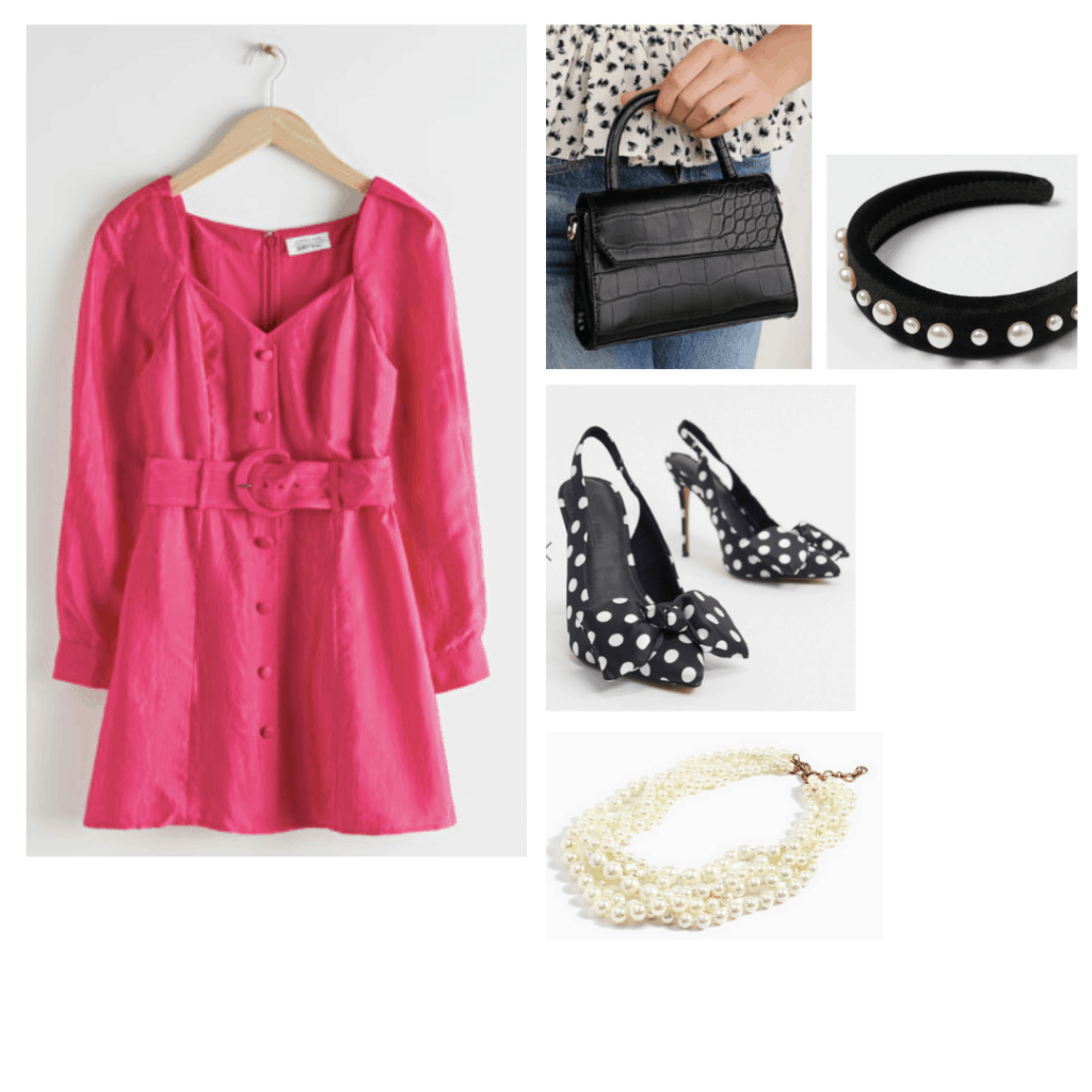 Outfit inspired by Charlotte from Sex and the City with pink dress, polka dot pumps, pearl headband, pearl necklace