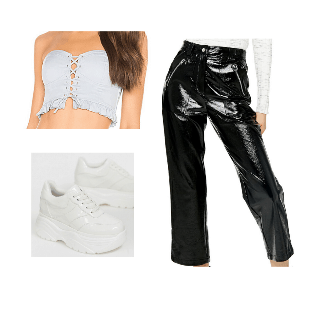 Party outfit formulas: Leather pants, cropped corset top, chunky sneakers