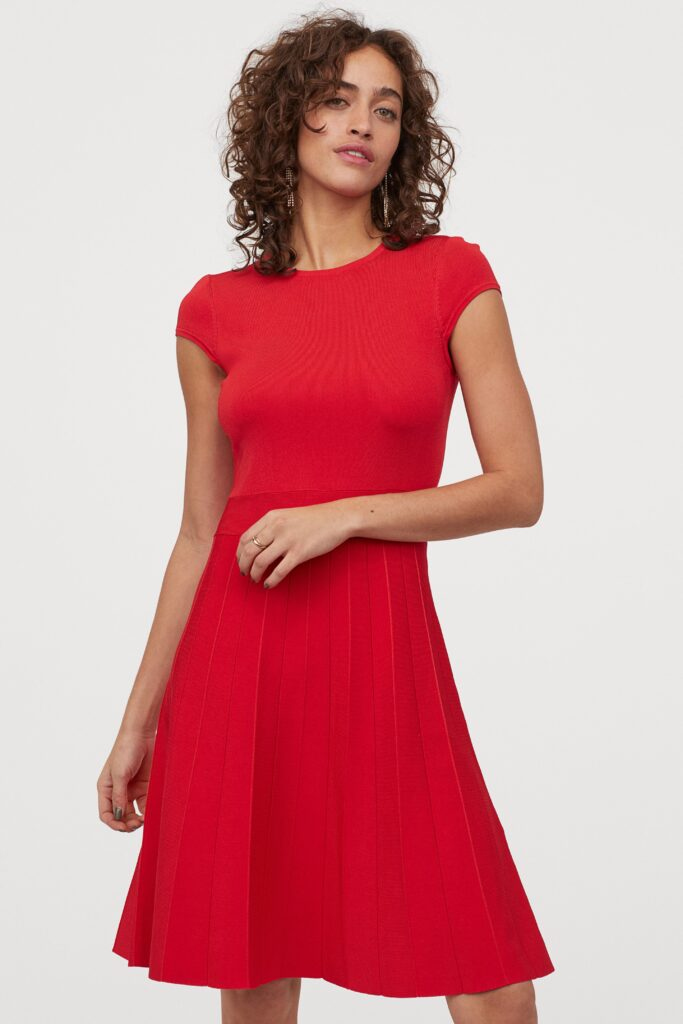 Red fit and flare dress from H&M