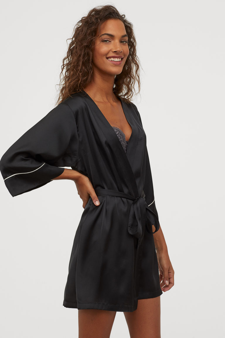 Black satin kimono with white piping from H&M