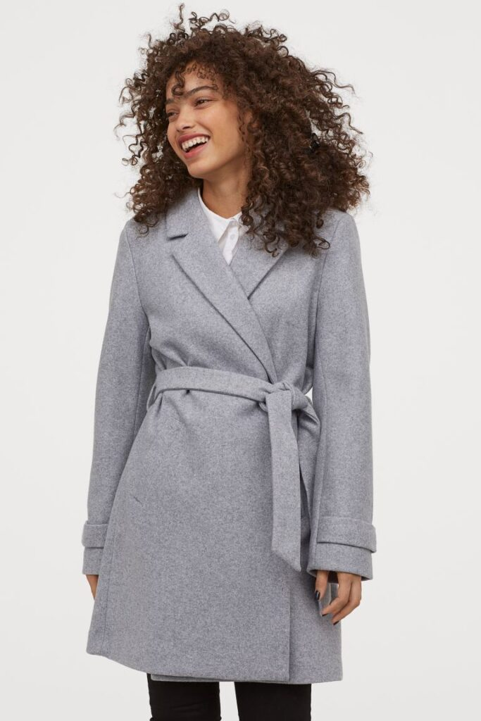 Grey wrap coat from H&M