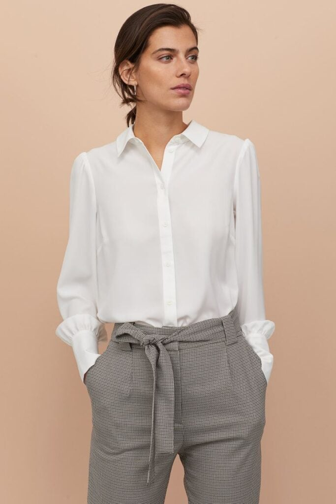 White puff-sleeved blouse