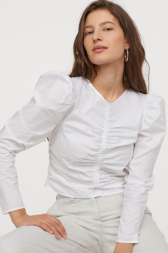 White feminine H&M blouse