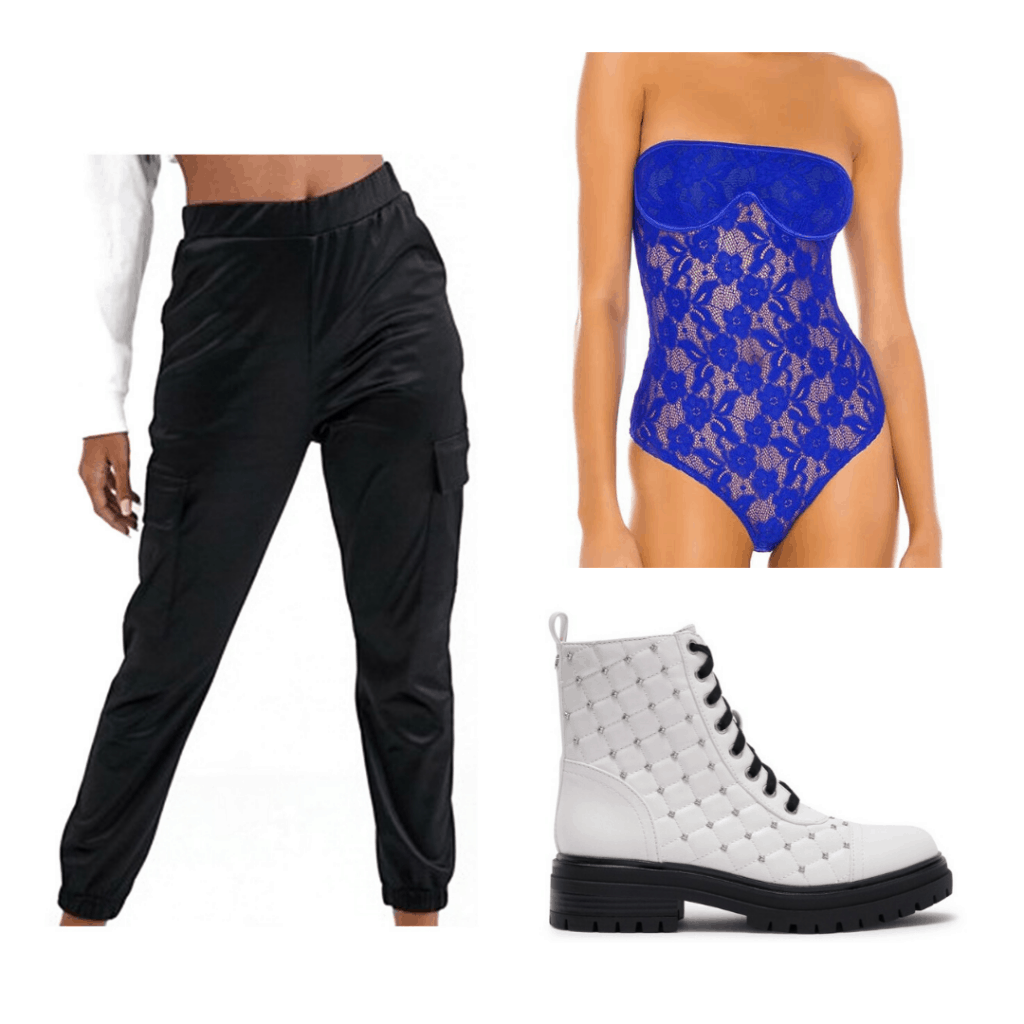 Party outfit formulas: Bodysuit, joggers, studded combat boots